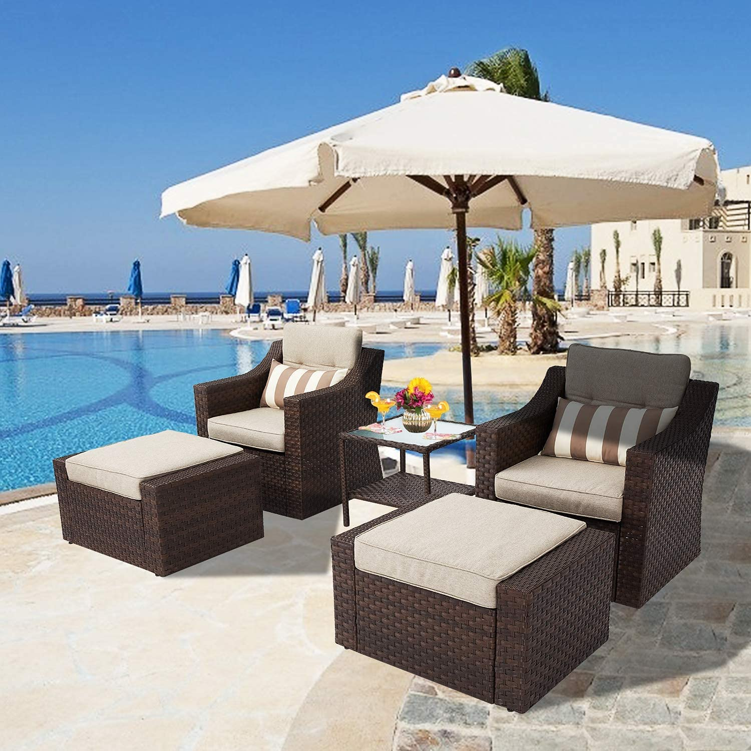 SUNCROWN 5-Piece Patio Furniture Nashville-Davidson Mall All-Weather Lounge Lowest price challenge Outdoor Set
