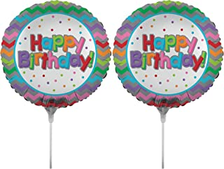 Set of 2 Foil Air Filled Balloons! Helium Free - Sticks and Joiner - Stars - Unique Themes - Party Balloons and Birthday Balloons Perfect for any Party Decoration! (2ct Happy Birthday 18