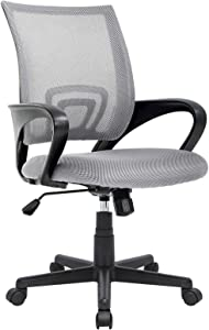 OFIKA 300LBS Office Chair Ergonomic Desk Chair, Adjustable Task Chair For Lumbar Back Support, Mesh Mid Back Computer Chair, Rolling Swivel and Armrest, Modern Executive Home Office Desk Chairs (Grey)