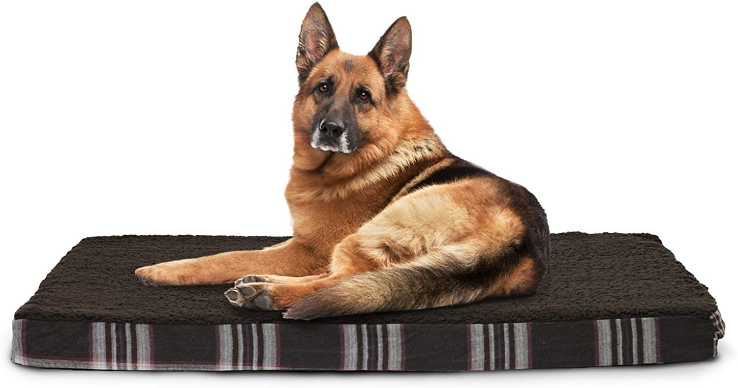 Furhaven Pet Products NAP Terry and Plaid DLX Orthopedic Pet Bed, Java Brown, 35Inch x 44Inch