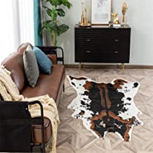 "Faux Cowhide Rug - 39.3"" W x37.1 L Brown Cow Print Area Rug for a Western Decor Cute Animal Printed Carpet for Home Living..."