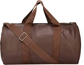BumBart Collection Brown Colour Gym Bag Body Building Pu Leather Duffle Gym Bag & Sports Bag for Men and Women for Fitness