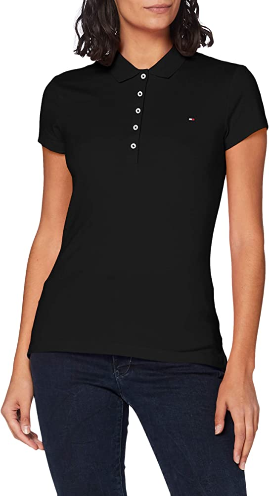 Tommy hilfiger polo , maglietta a maniche corte per donna , 96% cotone, 4% elastan 1M87650126A