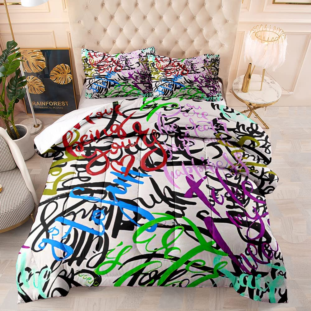 FRFFASHION Ranking TOP15 Graffiti Comforter Set White Blue Background New Shipping Free Shipping Gree Red