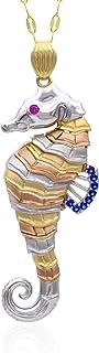 Collana in oro - 14K - cavalluccio marino - Pendente in tre ori, bianco - giallo - rosa, con occhio in zaffiro rosso e pin...