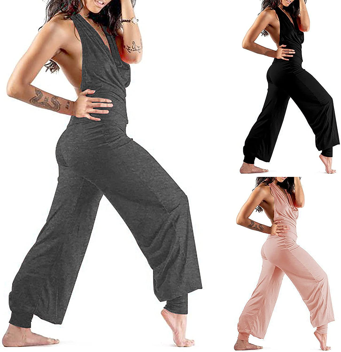 Womens Sexy V Neck Halter Backless Rompers Casual Summer Baggy Yoga Jumpsuits Fshion Wide Leg Long Playsuit