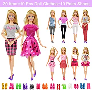 20 Items 10 Pcs Fashion Handmade Doll Clothes Set Outfits Party Dress and 10 Pairs Doll Shoes Different Doll Accessories for 11.5 Inch Girl Doll Set C