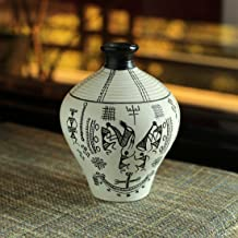 ExclusiveLane 6 Inch Terracotta Handpainted Warli Matki Shaped Decorative Vase in White -Flower Pots Home Decorative Pieces Gift Item