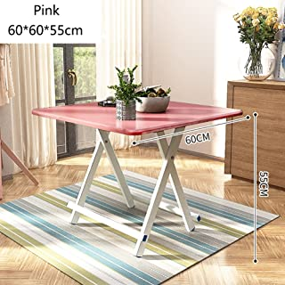 MS Portable Small Folding Dining Table - Kitchen Camping - Wooden Square Foldable Tea Coffee Table - Computer Workstation - Aluminum Alloy Legs and Anti-Slip Mat @