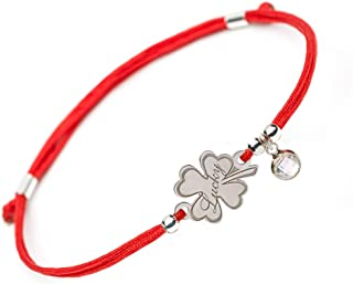 SOLOMIYA Good Luck Lucky Bracelet - 4 Leaf Clover Flower 925 Silver Charm - Adjustable Friendship Red String - Evil Eye Protection Bracelets for Womens