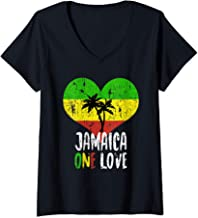 Womens I Love Jamaica One Love Palm Tree Reggae V-Neck T-Shirt