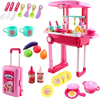 deAO SC-KP 2-in-1 Portable 'My Little Chef' Kitchen Suitcase Play Set with Sound, Lights and Accessories Included (Pink), 3-5 Years