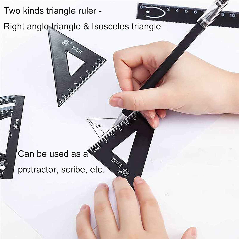 Juego de br/újula de geometr/ía reglas rectas y 2 triangulares blanco juego de dibujo con l/ápiz 5 piezas de matem/áticas escolares transportador de dibujo material de papeler/ía educativo Lre Co