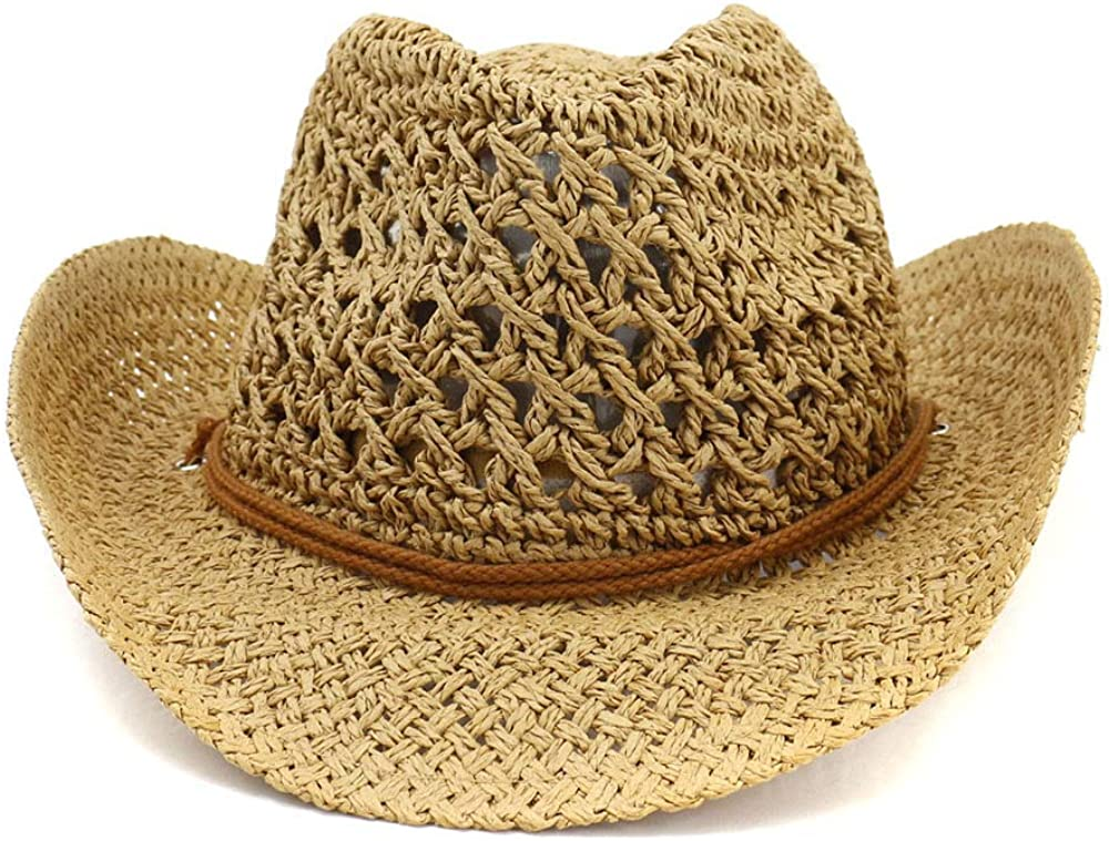 ADAHOP Western Cowboy Handmade Straw Hat Outdoor Seaside Beach Cap Sunscreen Sunhats Round Up Caps