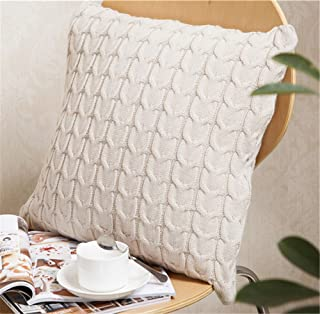 ANDUUNI Decorative Cotton Knitted Pillow Case Cushion Cover Double-Cable Knitting Patterns Soft Warm Throw Pillow Covers (Cover Only, Beige)