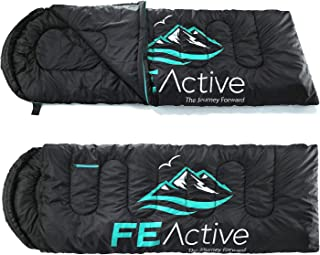 FE Active Camping Sleeping Bag - 3-4 Seasons, Extra Long, Hooded, Compact, Lightweight & Warm Sleeping Bag for Adults & Ki...