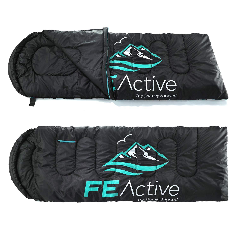FE Active Saco de Dormir Camping - Extra largo con Capucha, Saco de Dormir Resistente al Agua para Exteriores 3-4 Estaciones, Excursionismo, Trekking, Viajes, Escalada, Cama | Diseñado en California: Amazon.es: Deportes