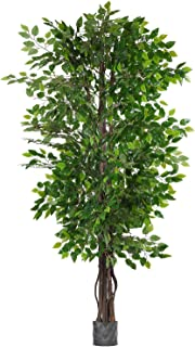 Woooow 6.5-Feet Ficus Silk Tree,Artificial Tree Ficus Tree with Green Leaves and Natural Trunk, Beautiful Fake Plant for Living Room Balcony Corner Decor,Indoor-Outdoor Use