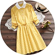 Dress 2019 Spring Women Long Sleeve Cute Yellow Polka Dot Slim Elastic Waist A-line Vintage