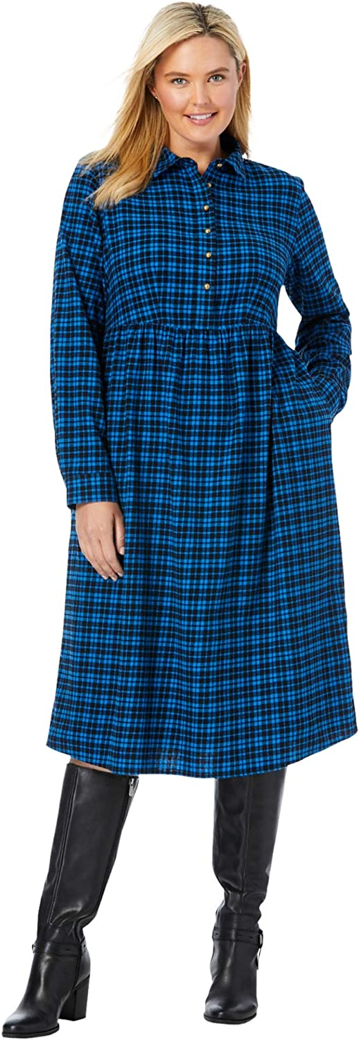 Woman Within Women's Plus Size Plaid Flannel A-Line Shirtdress