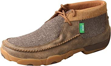 Twisted X Men's ECO D Toe Leather Driving Moc Casual Slip-On Shoes - Bomber/Dust