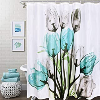 Smurfs Yingda Tulip Flowers Shower Curtains 12 Hooks Included Floral Bathroom Curtain Durable Waterproof