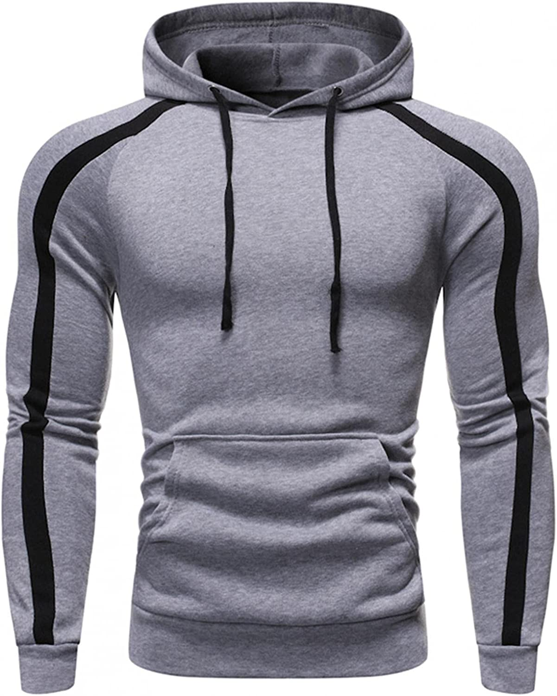Men's Hoodies Pullover, Men's Hipster Hip Hop Hoodie Casual Long Sleeve Stripe Warm Sweatshirts Sports Hoody with Pocket