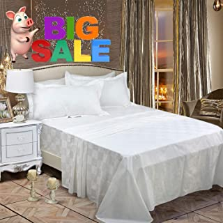 Softta King Size Sheets Set Fitted Sheet 4Pcs Bedding Luxury Hotel Collection Plaid Check 100% Egyptian Cotton 1000 Thread Count Solid White Hypoallergenic Sheet & Pillow Case Set