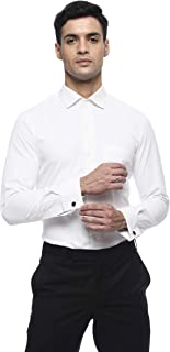 Moda Hombre Regular Fit Men's Full Sleeves White Cutaway Collar Formal Shirt