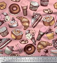 Soimoi Pink Cotton Duck Fabric Cupcake,Donut & Cookies Food Print Sewing Fabric BTY 56 Inch Wide