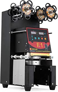 VEVOR Fully Automatic Sealing 500~650 H Digital Control LCD Panel for Bubble Milk Tea Coffee Smoothies, Cup Sealer Machine -Black