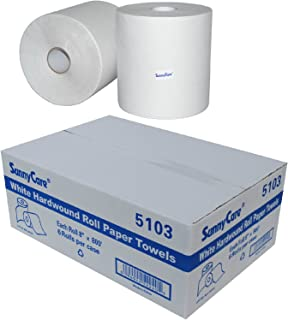 SunnyCare #5103 White One-Ply Hard Wound Paper Roll Towels 8