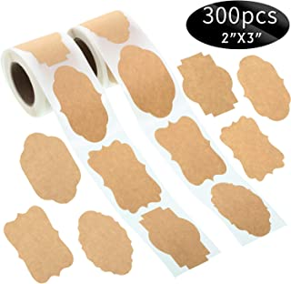 450 2 x 3 Kraft Sticker Paper Labels Brown Kraft Sticker Label Tag Christmas Name Tags Kraft Label for Office Classification Christmas Gift Jar Candle Glass Bottle (300)