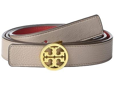 Tory Burch 1 Reversible Logo Belt (Gray Heron/Red Apple/Gold) Women