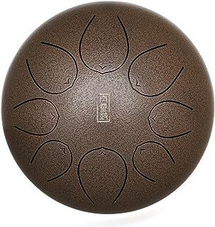 Tambor de Mano 10 pulgadas Tambor de Lengua de Acero Instrumento de Percusi/ón con Mazos de Ttambor Bolsa Nota Sticks para la Meditaci/ón Yoga Zazen Sound Healing dorado