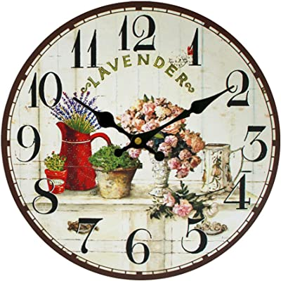 Old Fashion Flowers Vintage Silent Wall Clock MDF Wooden Elegance Art Waterproof Decorative for Home Living