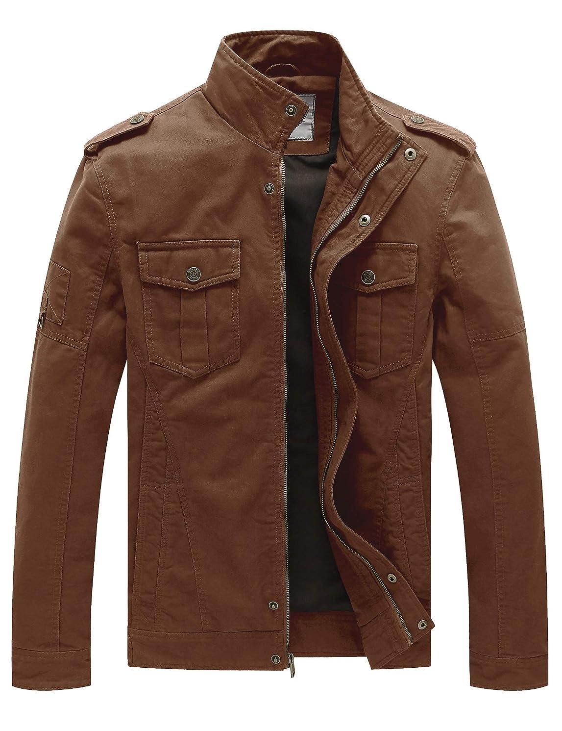 WenVen Men's Casual Cotton Military Jacket