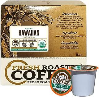 Fresh Roasted Coffee LLC, Organic Hawaiian 100% Kona Coffee Pods, Single Origin, Direct Trade, USDA Organic, Medium Roast, Capsules Compatible with 1.0 & 2.0 Single-Serve Brewers, 18 Count