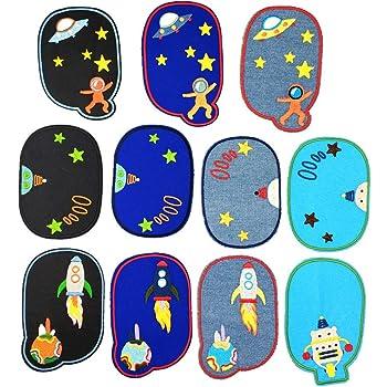 12 Pezzi Toppe Decorative Patch Termoadesiva Ferro-on-Patch con Modello di Cartone Animato per Coprire Fori e Macchie Patch Denim per Abbigliamento Pantaloni Lanthour Toppe Termoadesive