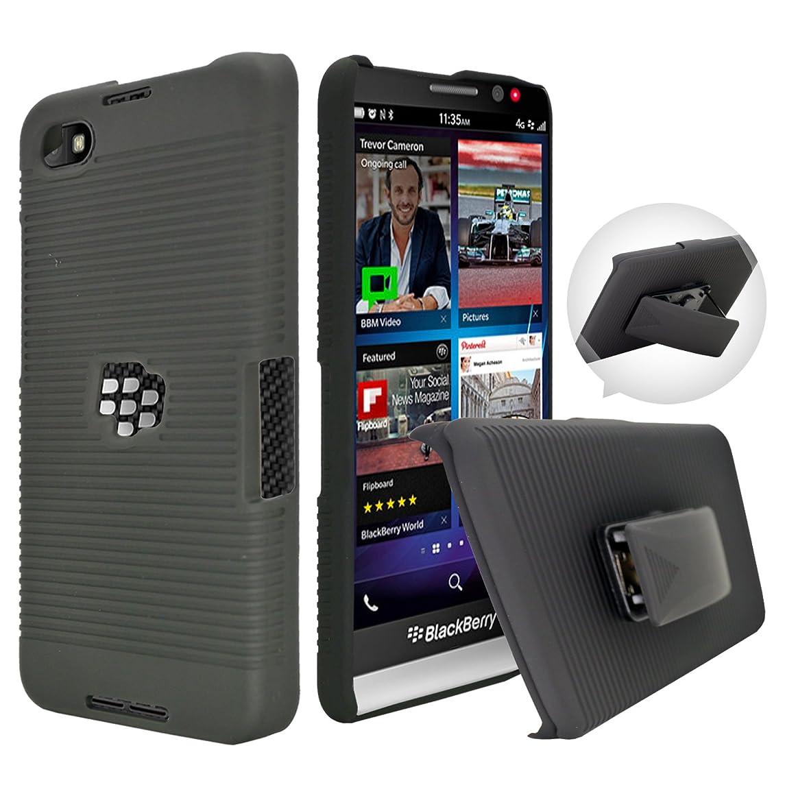 Black Rubberized Hard Case, Customerfirst Belt Clip Holster Stand For Blackberry Z30 Phone (Simply Black)