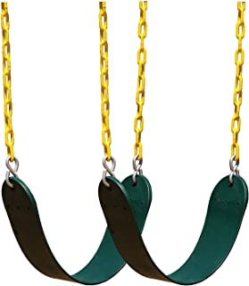 "Squirrel Products 2 Pack Heavy Duty Swing Seat - 66"" Chain Plastic Coated - Playground Swing Set Accessories Swing Seat Replacement - Green"