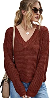 huiyingshe Suéter de Manga Larga con Cuello en V para Mujer Jersey de Color sólido Jersey de Punto Suelto Cardigans Sudade...
