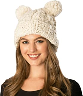 Women's Handcrafted Soft Chunky Knitted Double Pom Pom Beanie Hat with Hair Tie. (OneSize, Ivory)