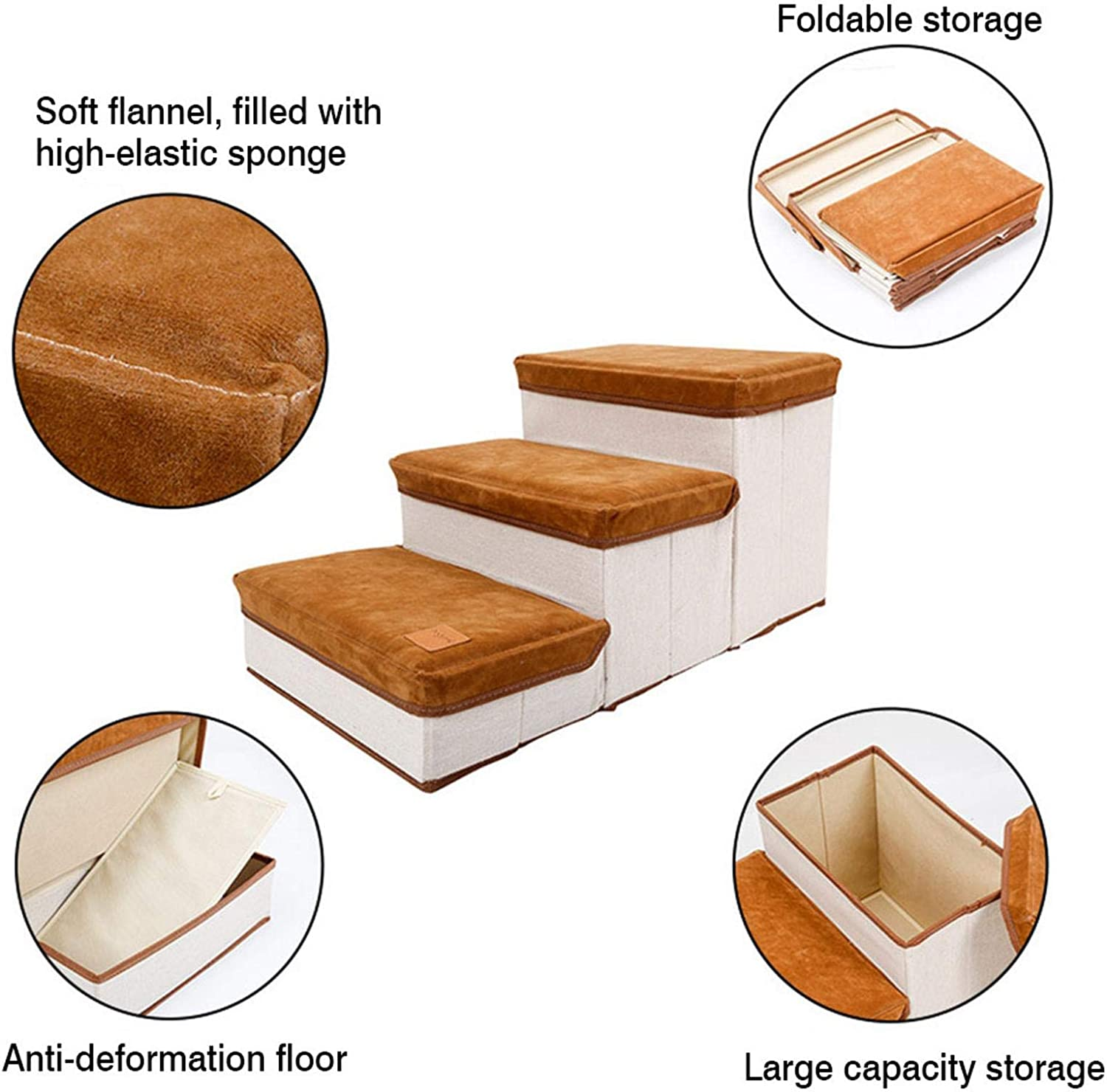 Indoor Foldable Steps For Dogs And Cats 3-step Storage Style Pet Stair Pet Ramp For Dogs Puppies Up To 55 Pounds Hengjierun Foldable Storage Pet Dog Stair Steps