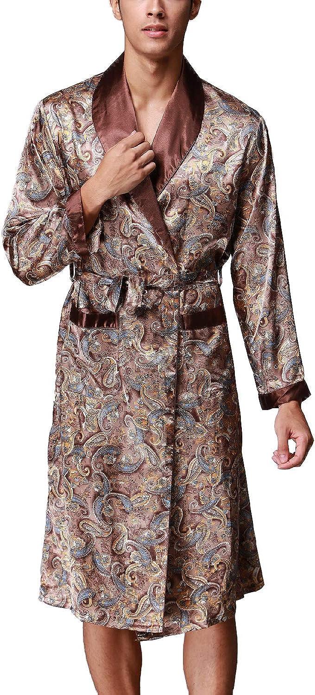 Lu's Chic Men's Satin Kimono Robe Long Silk Classic Nightgown Luxury Lightweight Spa Bathrobe