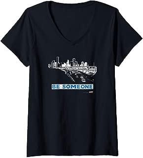 Womens Houston Texas Skyline - BE SOMEONE V-Neck T-Shirt