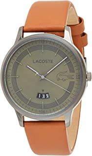 Lacoste 2011035 Leather Round Analog Watch for Men - Camel