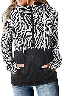 Women's Long Sleeve Patchwork Color Block Tops Casual Zipper Hoodie T Shirts Sweatshirt Blouse