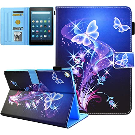 Kindle Fire HD 8 Case Old Model (Only Fit 2017 2016 , 7th/6th Gen), Not Fit HD 8 2020 Tablet and HD 8 Plus , JZCreater Standing Case Cover with Auto Wake/Sleep, Purple Butterfly