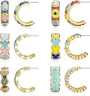 14K Gold Plated Small Open Hoop Earrings for Women Daisy Flowers Butterfly Star Evil Eye Half Hoop Earrings Jewelry Set